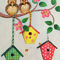 Birds And Birdhouse by Noel Cole