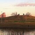 Birds And Fun At Butler Park Austin - Silhouettes 1 Panorama by Felipe Adan Lerma
