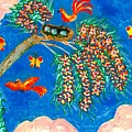 Birds And Nest In Flowering Tree by Sushila Burgess