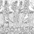 Birds In Flower Garden Coloring Page by Crista Forest