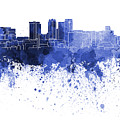 Birmingham Al Skyline In Blue Watercolor On White Background by Pablo Romero