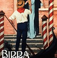 Birra San Marco, Venezia, Italy - Woman With Beer Glass - Retro Travel Poster - Vintage Poster by Studio Grafiikka