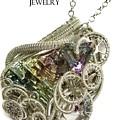Bismuth And Swarovski Crystal Steampunk Pendant In Sterling Silver - Stmbsm42 by Heather Jordan