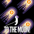 Bitcoin To The Moon Astronaut Cryptocurrency Humor Funny Space Crypto by Cameron Fulton