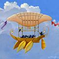 Bizarre Feline-powered Airship by John Deecken