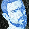 Black And Blue Man Portrait by Anti Quos