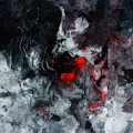 Black And Red Abstract Painting  by Inspirowl Design