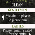 Black And White Bathroom Rules by Marilu Windvand