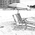 Black And White Beach Chairs by Michelle Powell