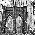 Black And White Brooklyn Bridge by Allan Einhorn
