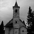 Black And White Church In Williston North Dakota. by Jeff Swan