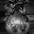 Black And White Crystal Glaze Vessel With Daylily 1732 Bw_2 by Steven Ward