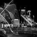 Black And White Fair Rides At Night by Dan Sproul