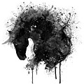 Black And White Horse Head Watercolor Silhouette by Marian Voicu