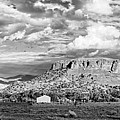 Black And White Panorama Of Black Mesa And Surroundings - San Ildefonso Pueblo New Mexico  by Silvio Ligutti