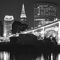 Black And White Panorama Of Cleveland by Frozen in Time Fine Art Photography
