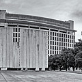 Black And White Panorama Of Jfk Memorial And Old Red Museum - Dallas Texas by Silvio Ligutti