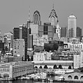 Black And White Philadelphia - Delaware River by Bill Cannon