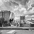 Black And White Photograph Of Anish Kapoor Cloud Column At The Glassell School Of Art - Mfa Houston  by Silvio Ligutti