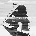 Black And White Pirate Ship Against The Sea And Crushing Waves. Double Exposure by Srdjan Kirtic