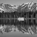Black And White Reflection On Jackson Lake Wyoming by Dan Sproul