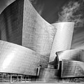 Black And White Rendition Of The Walt Disney Concert Hall - Downtown Los Angeles California by Silvio Ligutti