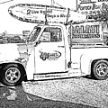 Black And White Sketch Truck by Michelle Powell