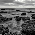 Black And White Sunset At Low Tide by Eddie Yerkish