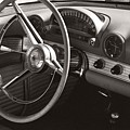Black And White Thunderbird Steering Wheel And Dash by Heather Kirk