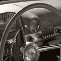 Black And White Thunderbird Steering Wheel  by Heather Kirk
