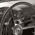 Black And White Thunderbird Steering Wheel  by Heather Kirk