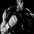 Black Boxer In Black And White 03 by Val Black Russian Tourchin