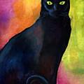 Black Cat 9 Watercolor Painting by Svetlana Novikova