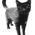 Black Cat Watercolor Painting  by Joanna Szmerdt
