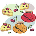 Black Cherry Pie And A Steaming Hot Cup Of Coffee by Little Bunny Sunshine