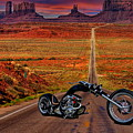 Black Chopper At Monument Valley by Russ Harris