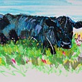 Black Cow Lying Down Painting by Mike Jory