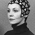 Black Felt Skull Cap Model by Underwood Archives