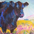 Black Fluffy Cow In Heather by Mike Jory