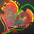 Abstract Multi Colored Heart by Kathy Linden