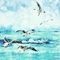 Black-headed Seagulls At Seven Seas Beach  by Zaira Dzhaubaeva