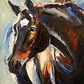 Black Horse Oil Painting by Maria Reichert