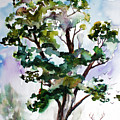 Black Locust Tree And Deer Landscape Portrait by Ginette Callaway