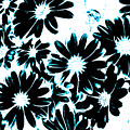 Black Petals With Sprinkles Of Teal Turquoise by Heather Joyce Morrill