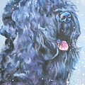 Black Russian Terrier In Snow by Lee Ann Shepard