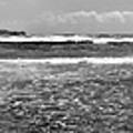 Black Sand Beach Pano B W by Peter J Sucy
