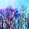 Black Trees Bright Pastel Space by Johari Smith