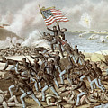 Black Troops Of The Fifty Fourth Massachusetts Regiment During The Assault Of Fort Wagner by American School