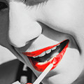 Black White And Red Lipgloss Pinup by Jorgo Photography - Wall Art Gallery