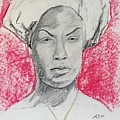 Black Woman With Red Background by Alejandro Lopez-Tasso